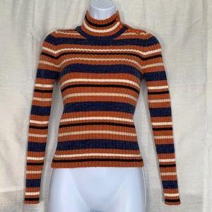 Sweaters - Orange Striped Mock Turtleneck Sweater
